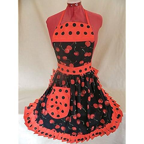 Fabrique Creations - Retro de 50s sintética delantal / - aledmis Díaz negro y rojo cerezas (Cherry) con rojo y negro diseño de lunares borde (fc055f)