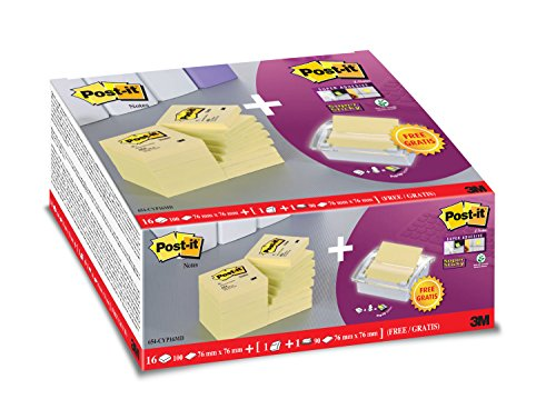 Post-it 654CY16D Haftnotiz Notas Promoción, 76 x 76 mm, 16 Blöcke Notas a 100 Blatt, a 1 cuadra de Super Sticky Z-Notes, amarillo inklusive 1 Spender, weiß / transparente