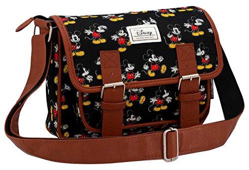 Disney Classic Mickey Moving Umhängetasche, 26 cm, Schwarz (Negro)