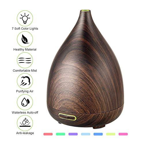 JASZHAO 7 Color Night Light,200ml Holzkorn Vase-geformte Ultraschall-Aromatherapie ÖlDiffusoren mit Adjustable Mist Mode Waterless Auto Shut-Off Humidifier -