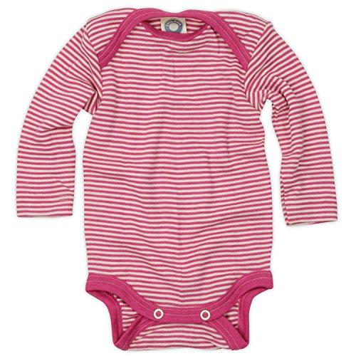 Cosilana - Baby Body 1/1 Arm, 50/56, geringelt Pep-Pink Natur, 70{aa1f43a5ed0c00bd2866aa084d9c3e83210d2ce26b5d2e6abc2189c0edeb94ee} Schurwolle kbT, 30{aa1f43a5ed0c00bd2866aa084d9c3e83210d2ce26b5d2e6abc2189c0edeb94ee} Seide, Angebot von Wollbody - Nhos Service und Vertriebs GmbH