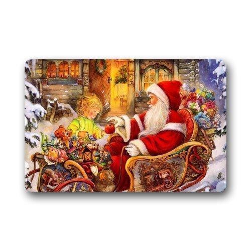 Xmas Santa Claus Innen Bodenmatten Tür Gummimatte für Eingang Weg, Decor WELCOME Teppich 40x 60cm Christmas Teppiche Geschenke