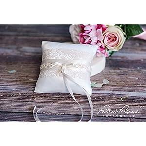 Ringkissen Wedding Pillow Hochzeit Ringe ivory natur beige Braut Dekoration AK6