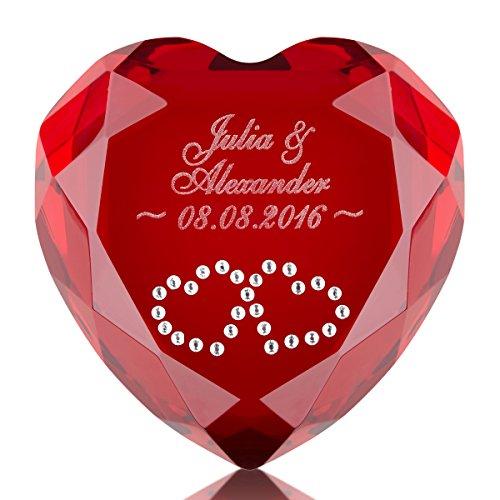 Herz-Diamant mit Gravur - romantisches Geschenk Freund & Freundin - originelle Idee für Verliebte zum Jahrestag (Rot, Swarovski-Kristalle: 2 rote Herzen)