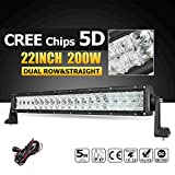 Morovan Offroad LED Work Light 22' 32' 42' 52' 5D Straight LED Light Bar with CREE Chips Combo Beam for Off-road Vehicle Truck 4WD (200w)