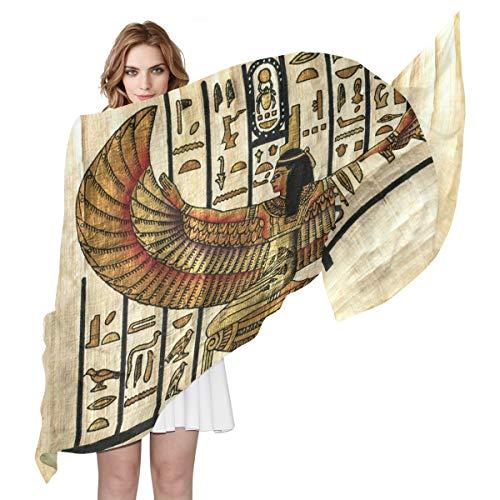 QMIN Seidenschal, antike Religion, ägyptisches Pergament, modisch, lang, leicht, Schal, Tidy Wrap Schal, für Damen, Mädchen, Damen -