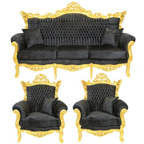 RICHMANIA 'KÖNIGLICHE LUXUS SOFA GARNITUR' - Komplettset 3-2-1 Edel 3er Couchgarnitur + 2er Couchgarnitur + 1 Sessel Design Schwarz / Gold