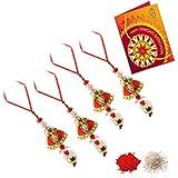 Bhai Rakhi Festival Ethnic Handcrafted Special Work Bhabhi Rakhi Set Rakhi For Bhabhi Rakhi 5 Set Rakhi(,1 Pack Roli, 1 Pack Rice, 1 Greeting Card) RF-VE-80