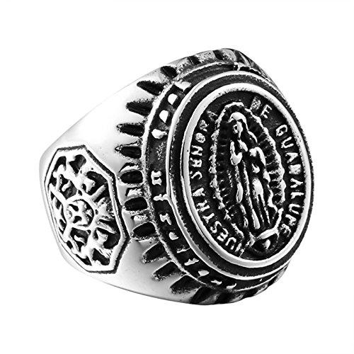 (Beydodo Titanring Herren Maria Jungfrau Punk Ring Silber Freundschaftsring Größe 70 (22.3))