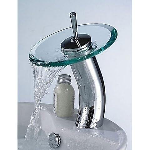 khskx Elegante recipiente di vetro cascata rubinetto–argento + traslucido verde