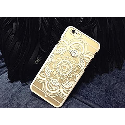 corst TPU Silicona PC relieve Lace Pattern Case Transparente niña flores punta hueca Hollow funda Cover for Apple iPhone