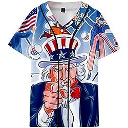 Camisetas Hombre Tops T Shirt 2019 New Verano de los Estados Unidos Bandera Impresa Chaqueta Corta del béisbol Chaqueta Suelta Camisas Ocasionales Azul XXL