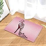 gohebe Pink High Heel von Wunderschöne Schmetterlinge Decor Bad Teppiche rutschhemmend Fußmatte Boden Eingänge Innen vorne Fußmatte Kinder Badematte 39,9x 59,9cm Badezimmer Zubehör