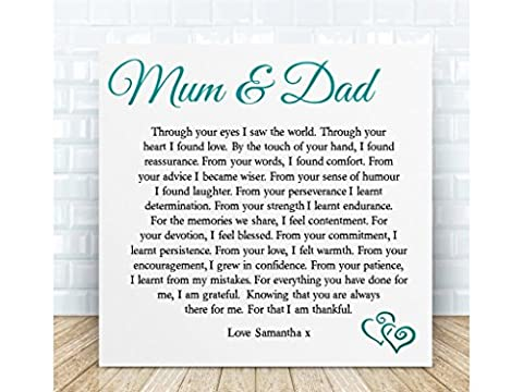 Personalised Mum & Dad Thank You Poem Gift. Ceramic Plaque. Boxed. The perfect sentimental gift for Birthdays, Christmas, Anniversary & Special Occasions. Personalised details