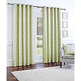 Just Contempo Panama - Cortinas con anillas, diseño floral, 2 cortinas 168 x 183 cm (salón), verde