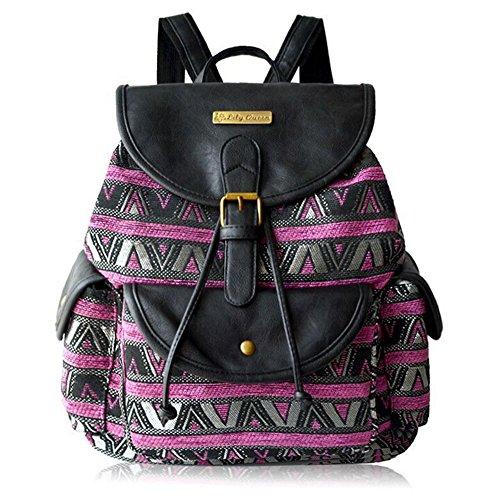 BYD - Femme Sacs portés dos School Bag Travel Bag Imprimés fleuris Design with Metal Brand Card and PU en Cuir Flip Purple