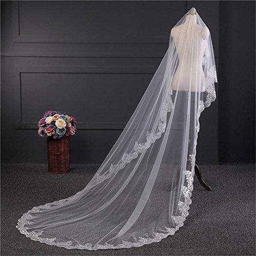 Spitze Rand Brautschleier 3 Meter Elfenbein/Weiß Luxus Dom Hochzeit Lange Schleier Heiß Verkauf Hochzeit Zubehör , Ivory
