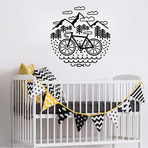 Fahrrad Und Berge Wandaufkleber Für Kinderzimmer Schlafzimmer Kunst Dekor Vinyl Radfahren Aufkleber Wohnzimmer Wandbilder Schmücken (Kunst-fahrrad)