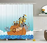 ruichangshichengjie Cat Lover Decor Shower Curtain Set, Dog and Kitty in The Bathtub Together with Bubbles Shampooing Having Shower Fun Artsy Print, Bathroom Accessories, 60 x 72 inches inches, Multi