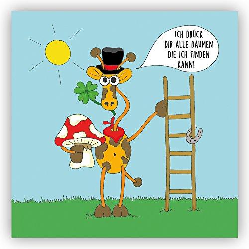 """Postkarte \""""Ich drück dir alle Daumen die ich finden kann\"""" Erfolg Glück berufliche Wünsche Hufeisen Kleeblatt Schornsteinfeger Daumen drücken lustige Karte Humor"""