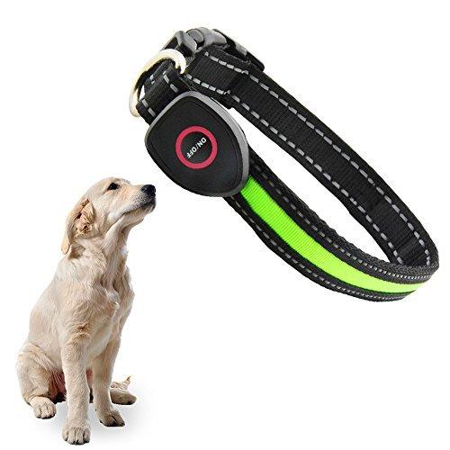 Hunde Halsband, OCHO8 Leuchtendes Halsbänder, LED Hunde Sicherheits Halsband, Hundeband USB Wiederaufladbar Leuchthalsband LED Blinkhalsband für Hunde,Welpen, Haustier (Größenverstellbar 33-50 cm) Cinch-batterie
