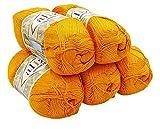 Alize Bamboo fine 5 x 100 Gramm Bambuswolle einfarbig, 500 Gramm 100% Bambus Strickwolle (orange 83)