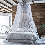 LIN HE SHOP Prinzessin Betthimmel Vorhang Moskitonetz Queen & King Size Full Coverage Lace Dome Decke Moskitonetz Betthimmel, Raumdekoration, Höhe 280cm (Farbe : Gray, größe : 1.8m)