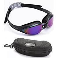 Swim goggles Anti-Fog Coated Tinted Lens With 100% UV Protection, Leak Proof Silicone Eye Cups for Swimming, Great Goggles for Men, Women and Adults with Swimming Goggles Case (Purple colour Lens)