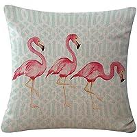 CAOLATOR Funda de Almohada Flamingo de Lino Fundas de Cojines Serie de Flamenco Decoración Oficina en Casa Sofá Funda de Almohada Relleno no Está Incluido -45x45cm