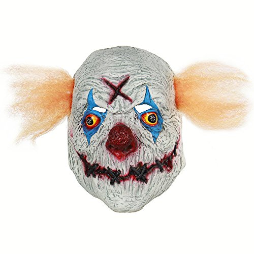 Clown Maske Halloween Party Kostüm Dekorationen huanted House Dekoration Requisiten Creepy Maske aus Latex X Clown ()