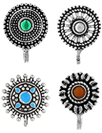 Anuradha Art Silver Oxidised Flower Styled Multi Colour Press On Combo Pack Nose Ring/Nose Stud/Pin for Women/Girls