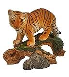 Tiger Baby am Baumstamm Katze Tigerfigur Skulptur Deko Tier Figur Löwe Statue