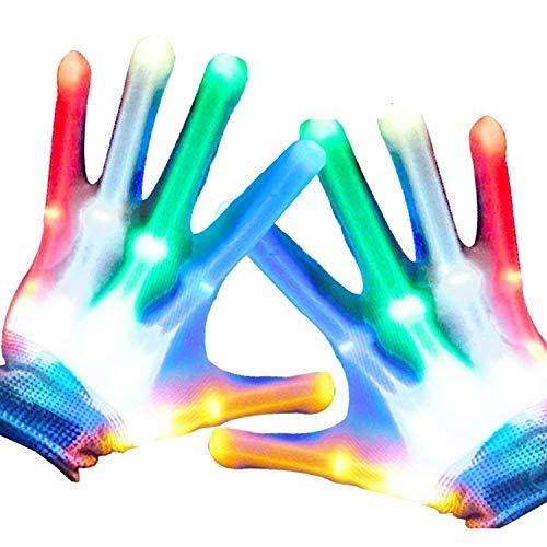 Anzmtosn Kinder LED Fingerlicht Handschuhe leuchten auf Blinkende Skeletthandschuhe für Jungen Spielzeug Geschenke Lichtshow Partyzubehör Accessoires Gefälligkeiten Tolle Geschenke