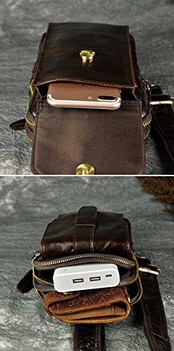 Le'aokuu Herren Echtleder Sportlich Retro Sling Schulter Cross-Body-Tasche Brust Beutel Tasche Umhängetasche B571-1 dunkel braun