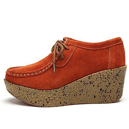 Piattaforma piattaforma scarpe di cuoio in primavera/Inghilterra zeppe scarpe-A Lunghezza piede=24.3CM(9.6Inch)
