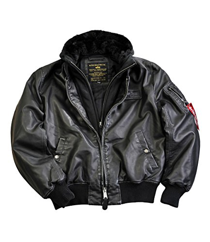 Alpha Industries Herren Lederjacke MA-1 D-Tec FL Leather schwarz schwarz M
