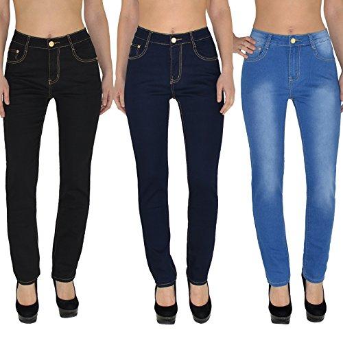 by- tex Damen Jeans Hose Damen High Waist Jeanshose Straight Leg Hochbund Hosen bis Übergröße 54, 56 #J23 Typ_J25.