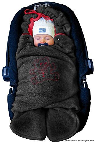"""ByBoom® – Baby Winter-Einschlagdecke """"Das Original mit dem Bären"""", Universal für Babyschale, Autositz, z.B. für Maxi-Cosi, Römer, für Kinderwagen, Buggy oder Babybett, Farbe:Anthrazit/Rot"""