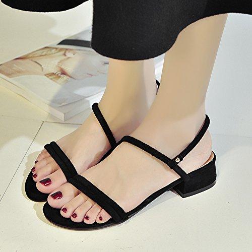 RUGAI-UE Donne Ferret Estate sandali scarpe cinghia spessa scarpe alla moda Black