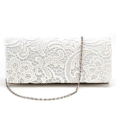 Sac a Main Pochette Style Portefeuille en Satin Rabat en Dentelle Florale pr Femme Fille Blanc