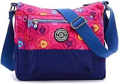 Tiny Chou Nailon Impermeable Bolsa de hombro Casual de color de contraste crossbody bolsa de viaje para niñas