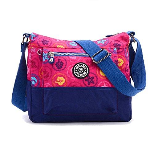 TinyChou, lockere Schultertasche/Reisetasche/Umhängetasche für Mädchen, Nylon, wasserresistent, kontrastierende Farben, mehrfarbig - Plum Plant - Größe: Small (Womens Handtaschen Junior)