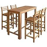 Festnight 5-Teiliges Barset Tisch- und Hocker-Set Bartisch und Barhocker aus Massives Akazienholz Sitzgruppe Esszimmergarnitur