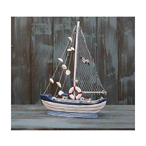 Guve Segelboot-Modell, rustikale hölzerne Segelboot Home Deco handgemachte Vintage nautische Holz Segelboot Dekor,(L*W*H) 27 * 6 * 36cm