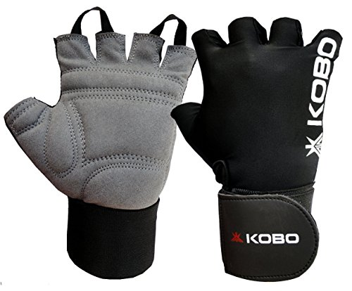 Kobo WTG-09 Gym Gloves with Wrist Support, Large (Black)