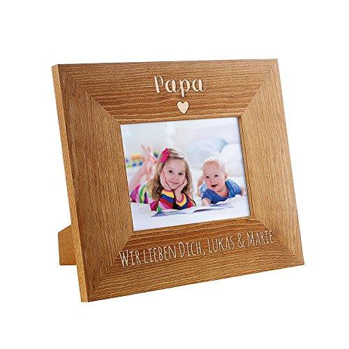 derrahmen mit Gravur – Papa mit Herzchen – Personalisiert mit Namen – Rahmen aus Holz – Vatertagsgeschenke – Geburtstag – Geschenk für Männer ()