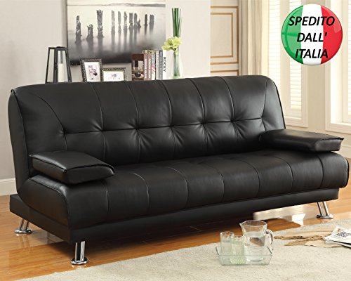 Wellder divano letto ecopelle 3 posti reclinabile cuscini nero eco pelle similpelle