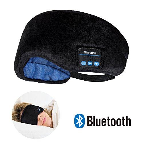 Joseche Schlafmaske Bluetooth Kopfhörer, kabellos, Bluetooth-Kopfhörer Musik Travel Sleeping Headset 4.1Bluetooth Eye Maske Hands-Free Sleep Eye Shades integrierter Lautsprecher Mikrofon waschbar
