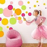 Wandaro Wandtattoo 42 farbige Punkte I 2-22 cm Größe I Baby Mädchen Kindergarten Kinderzimmer Aufkleber Kreise Dots Wandaufkleber Wandsticker Sticker W3415