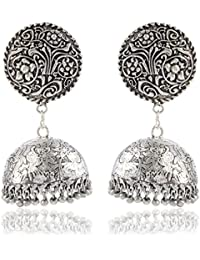 AHUTI ACCESSORIES German Silver Or Oxidized Silver Plated Jhumkas Earrings For Women (EAH011)